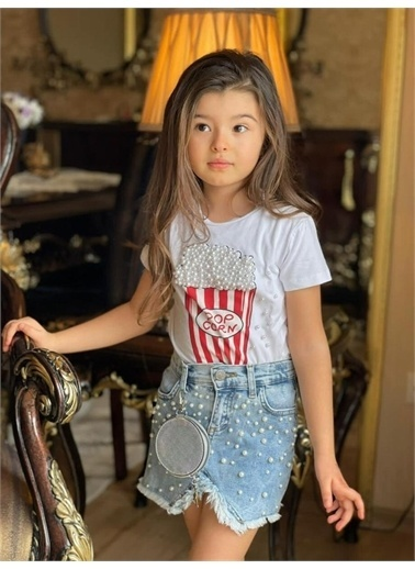 Hilal Akıncı Kids Kiz Çocuk Pop Corn Baskili Sıyah Bluz Kot Etek Ikılı Takim Beyaz